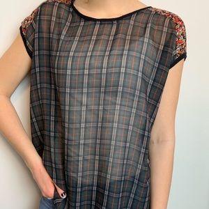 Zara Women Blouse Size Medium Lace Plaid SemiSheer